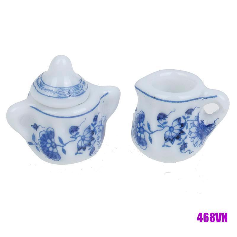 [DOU]15Pcs 1:12 Dollhouse miniature blue flower tableware porcelain coffee tea cups