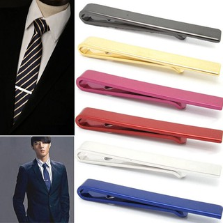 Mens Stainless Steel Silver Tone Simple Necktie Tie Bar Clasp Clip Clamp Pin 4CM