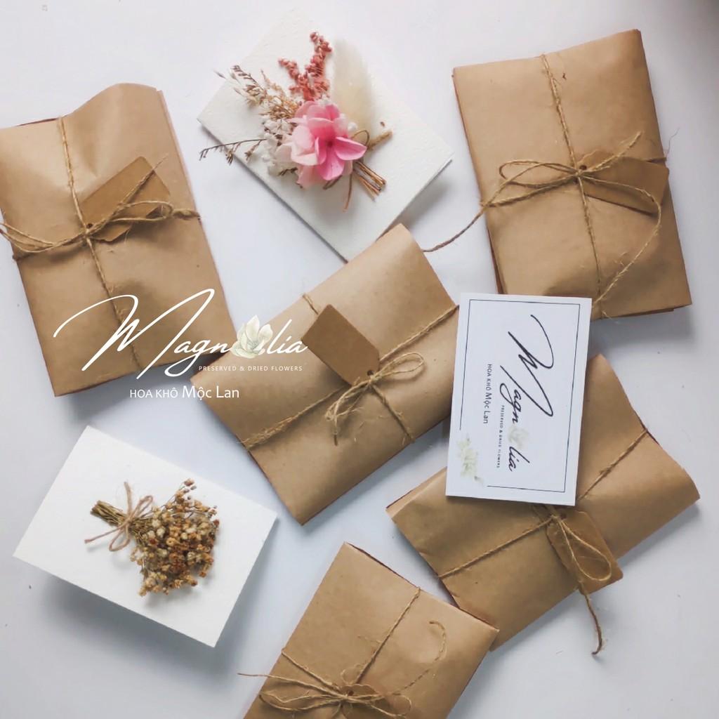 Thiệp đẹp ❤️FREESHIP❤️ Wedding Card hoa khô giấy cứng handmade vintage, quà tặng sinh nhật