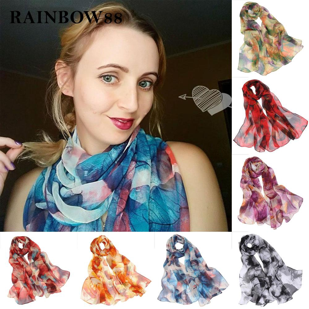 Women Fashion Leaves Pattern Long Shawl Georgette Comfortable Soft Scarf Latest