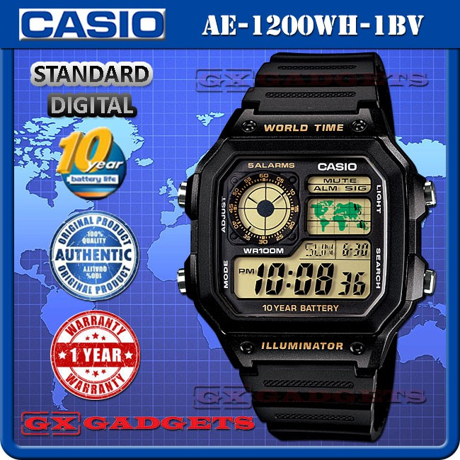 Đồng hồ nam dây nhựa Casio AE-1200WH-1BVDF