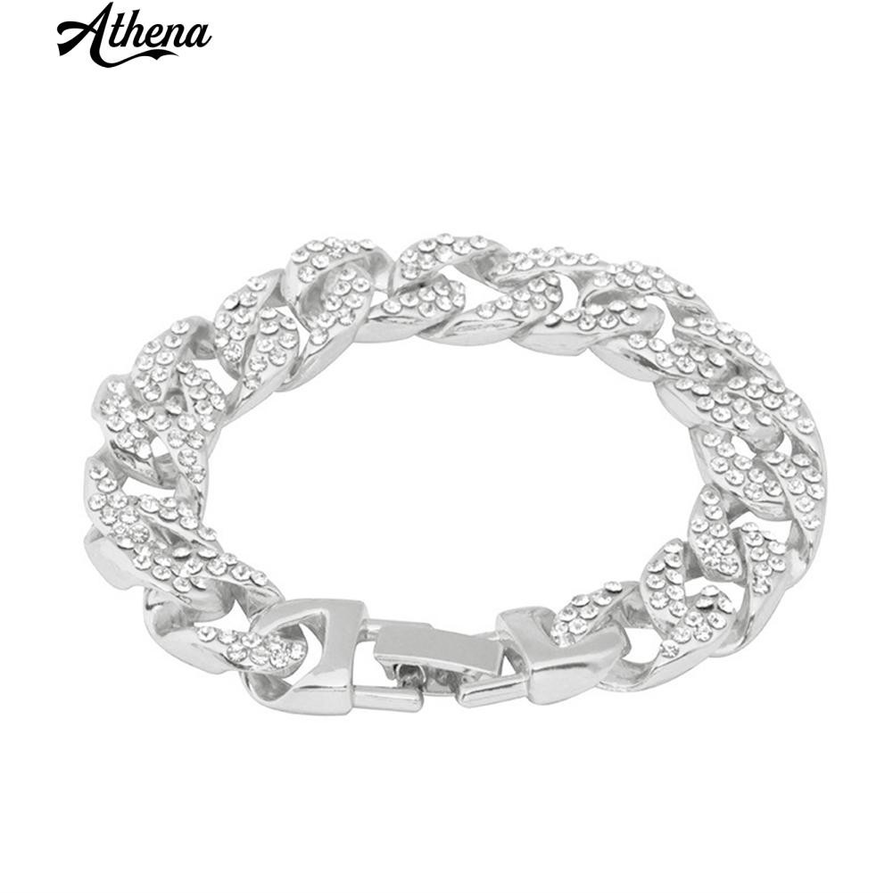 ATH_Hip Hop Full Rhinestone Chain Bracelet Cuba Men Bangle Nightclub Jewelry Gift