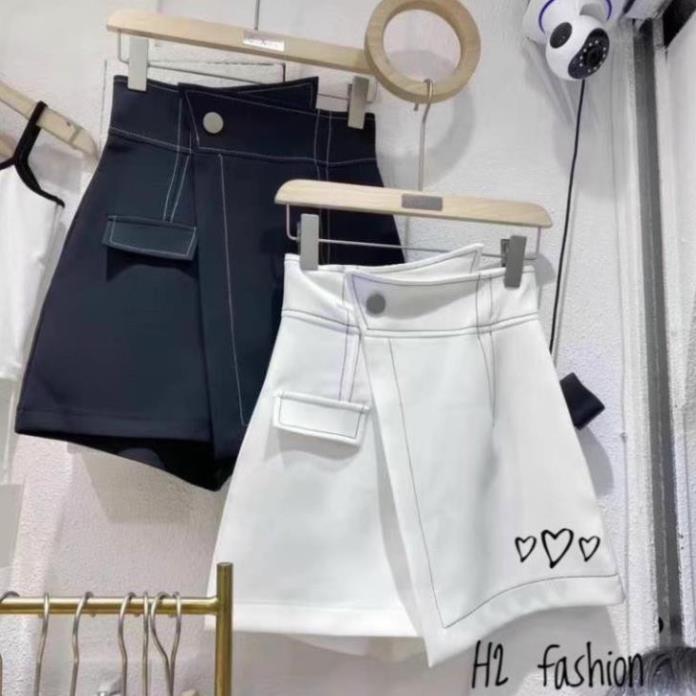 Quần Short nữ cạp cao chỉ viền nổi đen trắng mặc xinh năng đoong tôn dáng hottrend năm nay thời trang BANAMO 639
