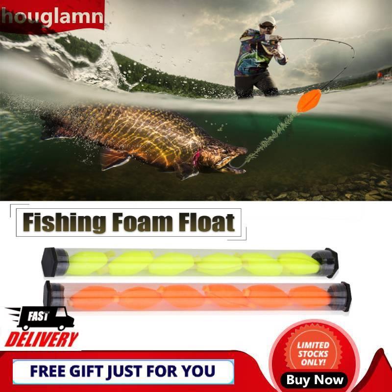 【houglamn】6Pcs 2Colors Fly Fishing Buoy Bobbers Foam Float Strike Indicator Fishing Tackle
