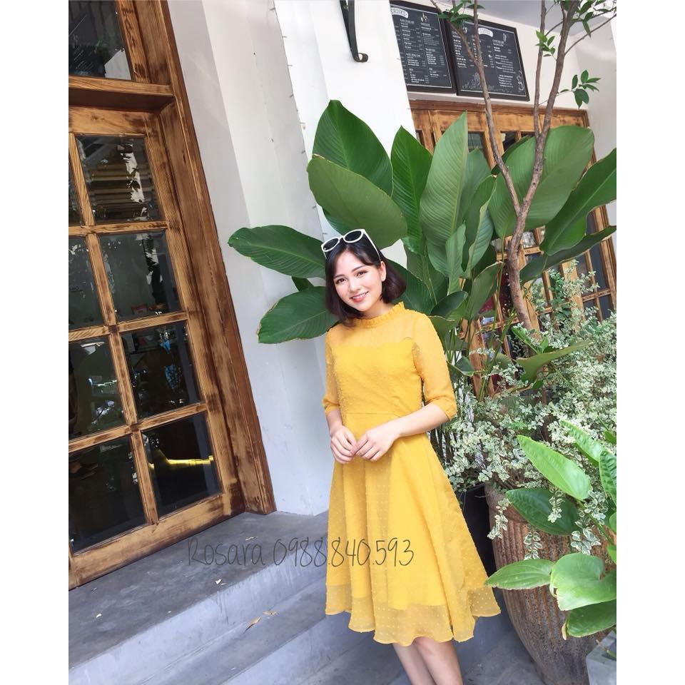 Váy xòe vàng voan chấm bi chìm