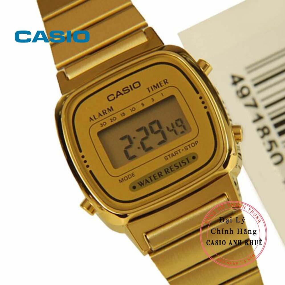 Đồng hồ điện tử nữ Casio LA670 dây kim loại