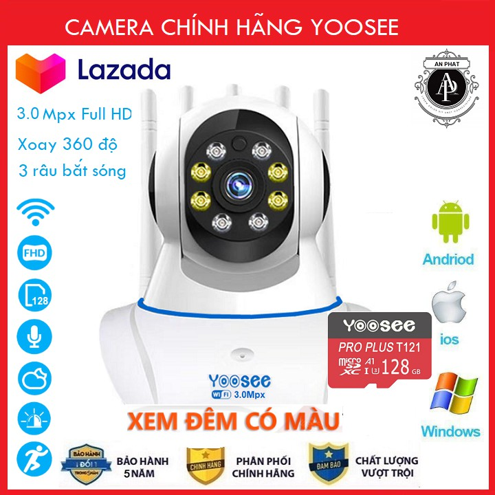 Camera Yoosee Camera Wifi 5 Râu 8 Led Xem đêm có màu 3.0Mpx Full HD Kèm Thẻ 32GB Chuyên Dụng