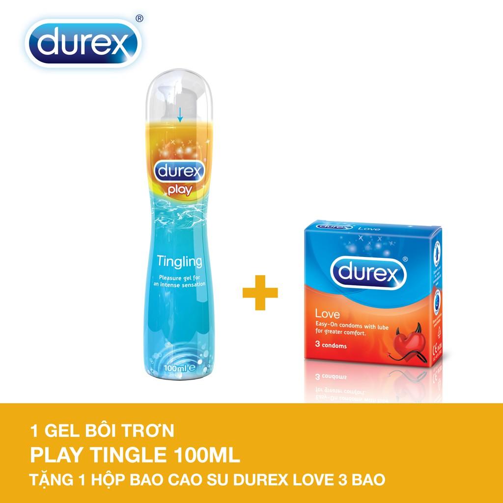 Gel bôi trơn Durex Play Tingling 100ml + Tặng 1 Bao cao su Durex Love 3 cái