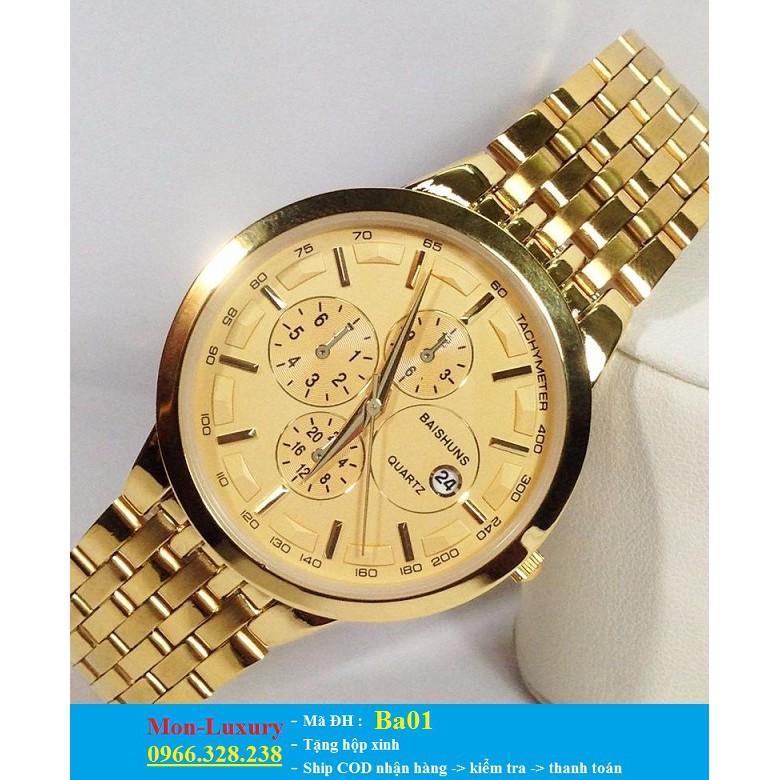 Đồng hồ đôi BAISHUNS dây vàng sang trọng chạy lịch ngày