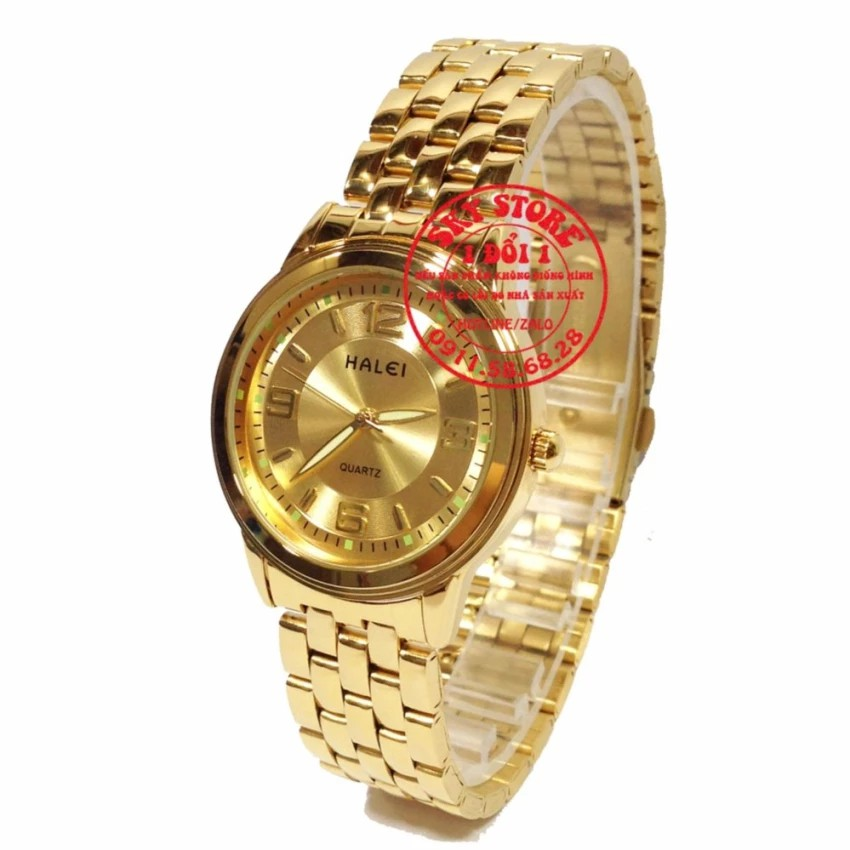 Đồng hồ nam 4272M (Mặt Vàng) dây thép không gỉ cao cấp Halei