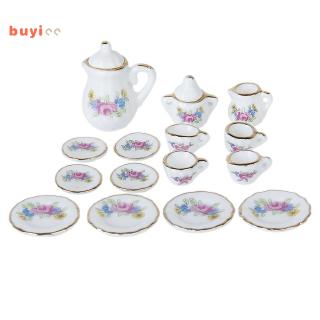 15 Piece Miniature Dollhouse Dinnerware Porcelain Tea Set Tableware Mug Plate with Floral Pattern