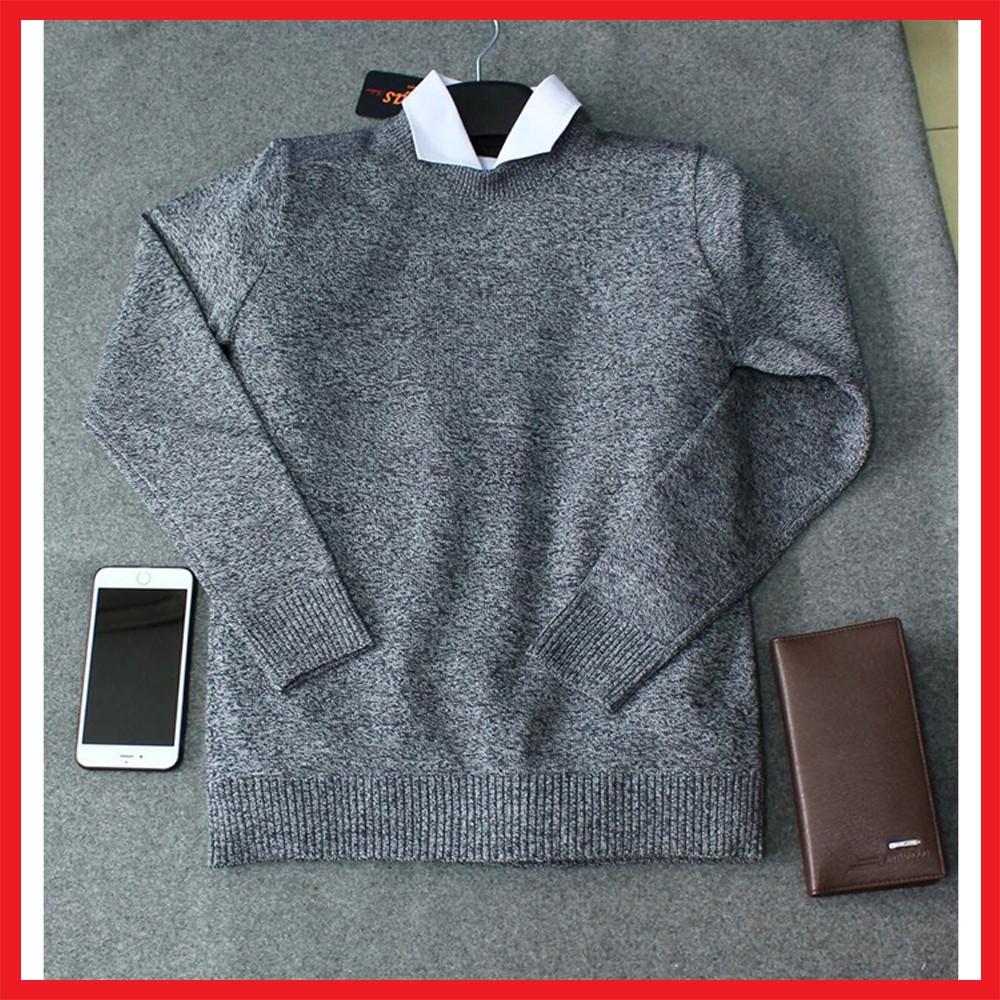 Áo len tiêu nam màu ghi tối