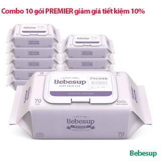 [COMBO 10 Gói Tiết kiệm thêm 10%] Khăn ướt em bé Bebesup Premier 70 tờ/gói- nhập khẩu nguyên gói Hàn Quốc