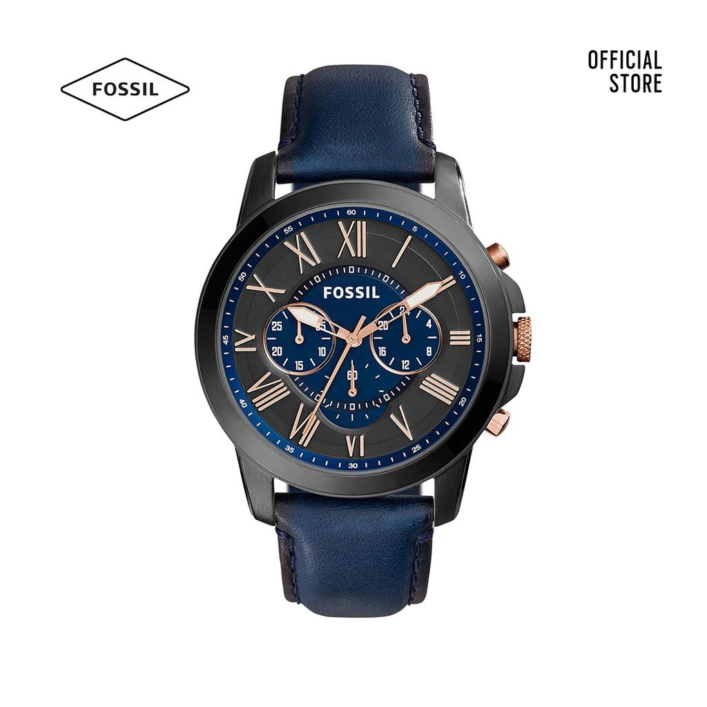 Đồng hồ Kim nam Fossil GRANT dây da FS5061IE - xanh dương
