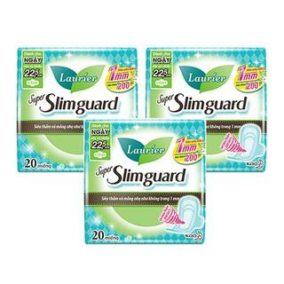 Combo 3 gói Băng Vệ Sinh Ban Ngày Laurier Super Slimguard Siêu Mỏng Cánh 1mm (22,5cm-20M)