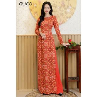 GUCO - Áo dài truyền thống nữ màu cam in họa tiết AD109 thumbnail