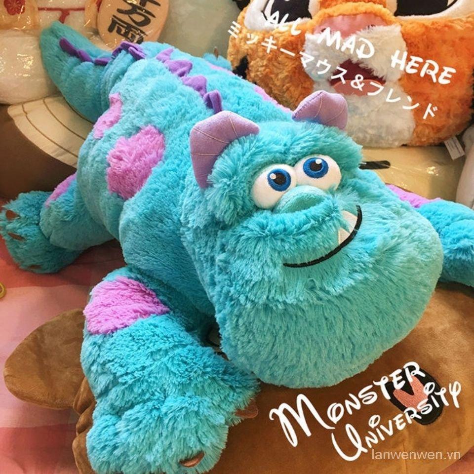 Cute Monster University Doll Sullivan Blue Hair Strange Doll Lying Throw Pillow Plush Toy Birthday Gift for Men and Women q1pm