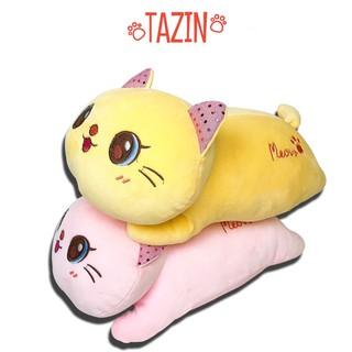 Mèo Bông Mắt To Nằm - Thú Nhồi Bông Mèo Mắt To Cao Cấp Tazin thumbnail