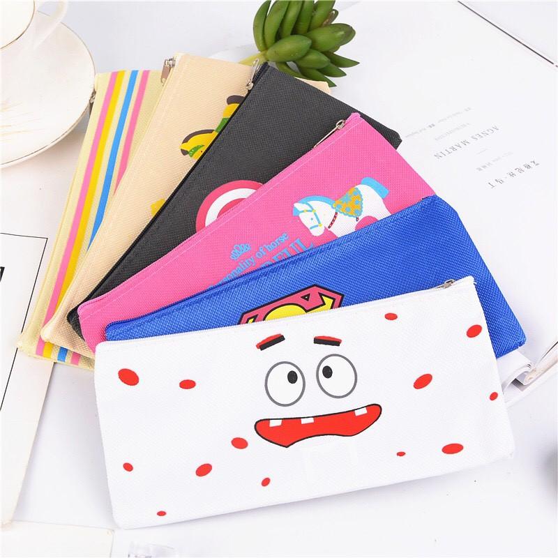 Túi vải canvas đựng bút cao cấp phong cách Hàn Quốc nhiều hình dễ thương