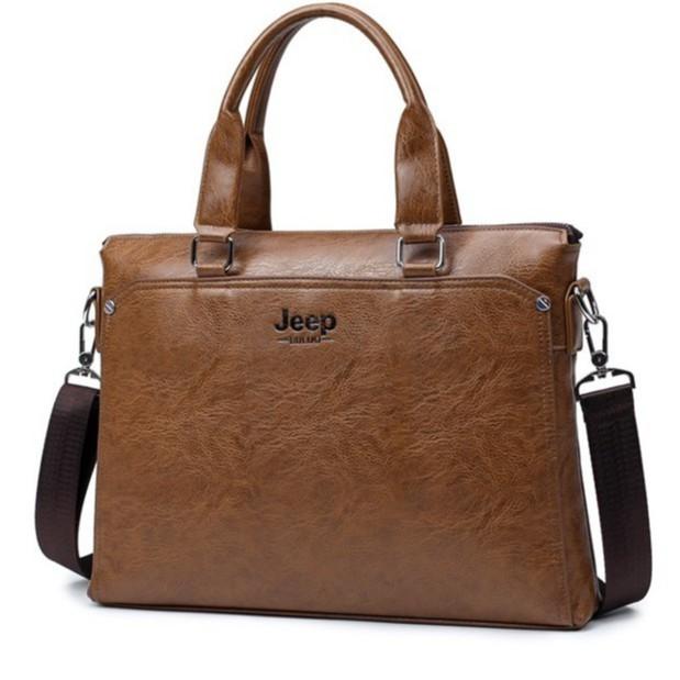Túi xách cặp da đựng laptop công sở JEEP BULUO 38x28x6cm (Nâu đậm-Nâu sáng-