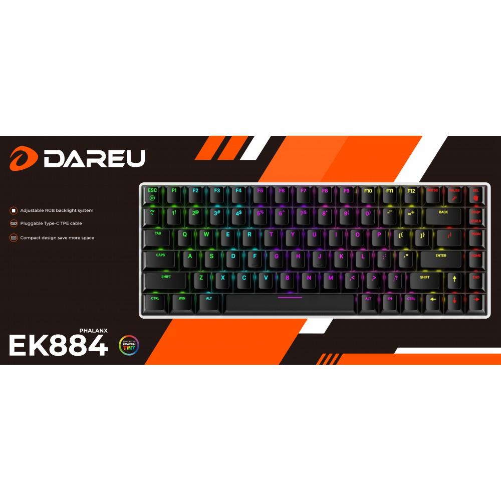 Phím cơ DareU EK884 led RGB/ type C cable (Blue /Brown/Red Switch) - Hàng chính hãng