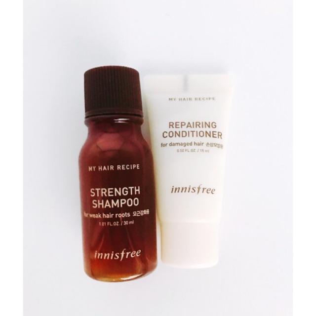 Bộ kit dầu gội Innisfree My Hair Recipe Refreshing Shampoo & Repairing Conditioner