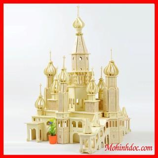Đồ chơi lắp ráp gỗ 3D Mô hình Mô hình Lâu đài Saint Petersburg Laser – Tặng kèm đèn LED USB trang trí