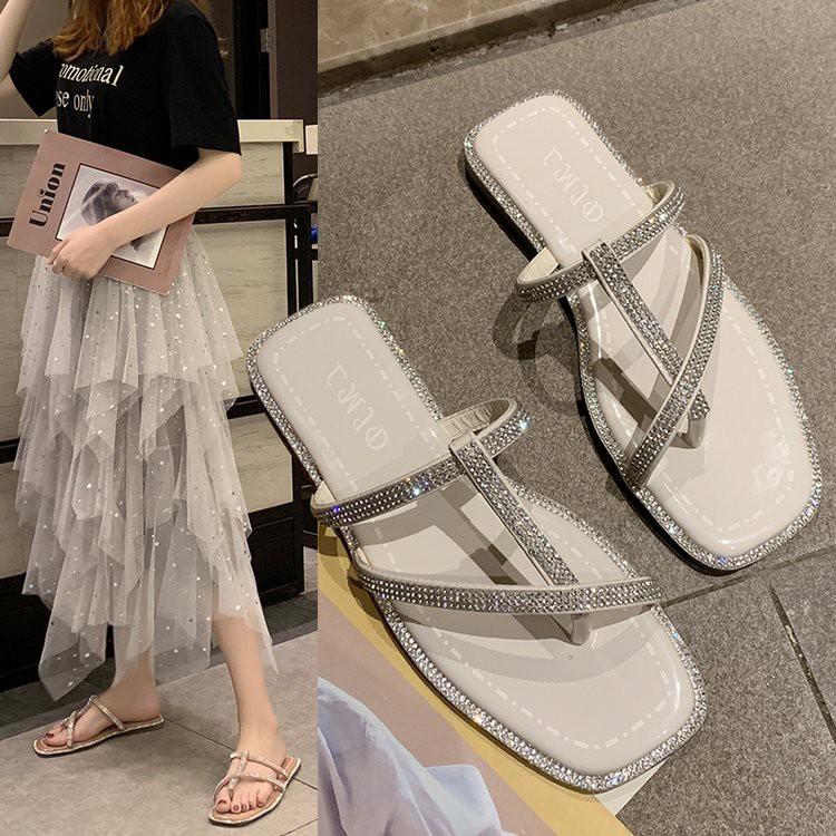 Net red slippers female summer wear new wild fashion rhinestones flip feet sanda