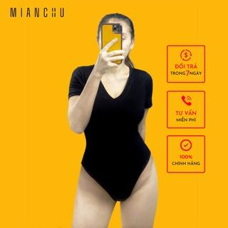 Áo thun nữ bodysuit tay ngắn cổ tim 2 Lớp MIANCHU thun visco dẻo co giãn ôm sát mã BDS2LCT thumbnail