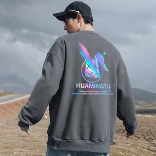 Áo Sweater nỉ phản quang unisex dài tay Thỏ Huamingtu AS33