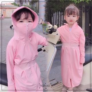 Áo chống nắng vành rộng ôm mặt cho bé gái vải thun lỗ thoáng mát