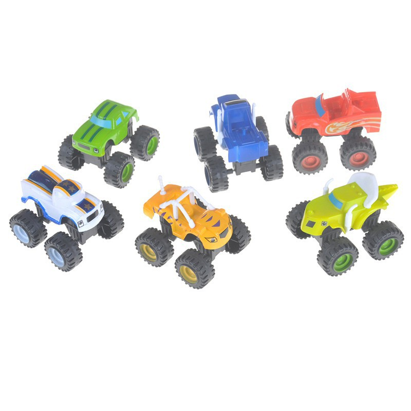 6Pcs Blaze Vehicles Racer Cars Trucks Gifts For Kids Diecast Toys Machines