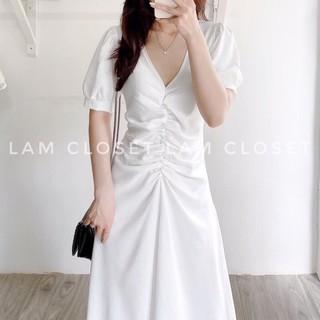 Đầm nữ Maxi dáng dài Cổ chữ V Nữ tính Màu trắng nhẹ nhàng Đi chơi Dự tiệc