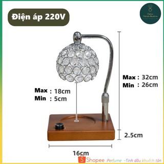 Đèn đốt nến thơm Điều chỉnh độ cao – Warmer Candles GU10 35W – Phong cách Châu Âu, chụp đèn màu trắng bạc đế vuông