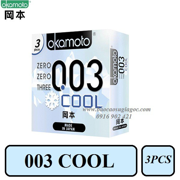 Bao cao su Okamoto 003 Cool siêu mỏng mát lạnh 3pcs