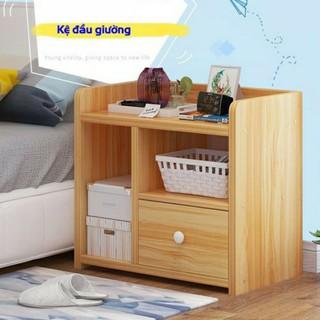 Tủ, Kệ Để Đầu Giường Vuông Ngăn Kéo Màu Gỗ 40 x 26 x 32.5cm (HÀNG CHẤT LƯỢNG CAO)