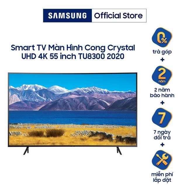 Coupon sản phẩm [Nhập ELSAMMAR - giảm 5%] Smart Tivi Samsung Màn Hình Cong Crystal UHD 4K 55 inch UA55TU8300KXXV - Miễn phí lắp đặt