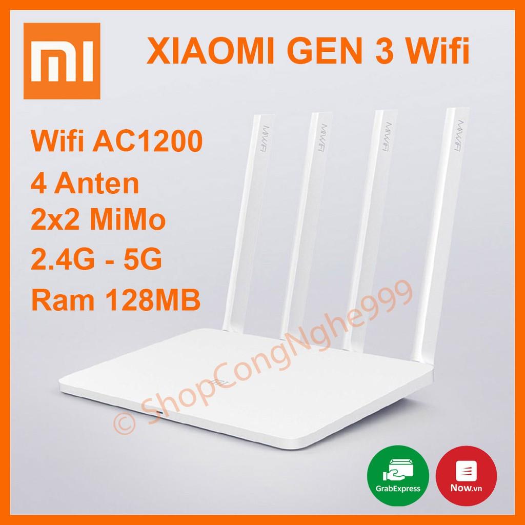Bộ phát wifi router wifi Xiaomi Gen 3 Tiếng Việt  chuẩn AC1200 gigabit 4 anten