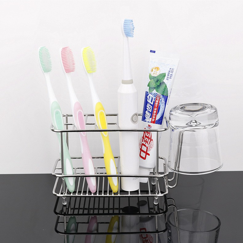 Kệ để bàn chải và kem đánh răng chất liệu Inox - có thể treo lên tường hoặc để trên bàn - Kèm miếng dán