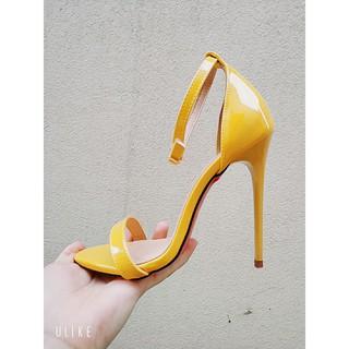 Giày sandal cao gót màu vàng 11cm
