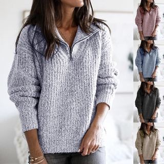 Áo Sweater Dệt Kim Phối Khoá Kéo Thời Trang Thu Đông Cho Phái Nữ