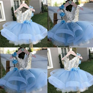 Đầm dự tiệc phối ren hoa phong cách công chúa cho bé gái