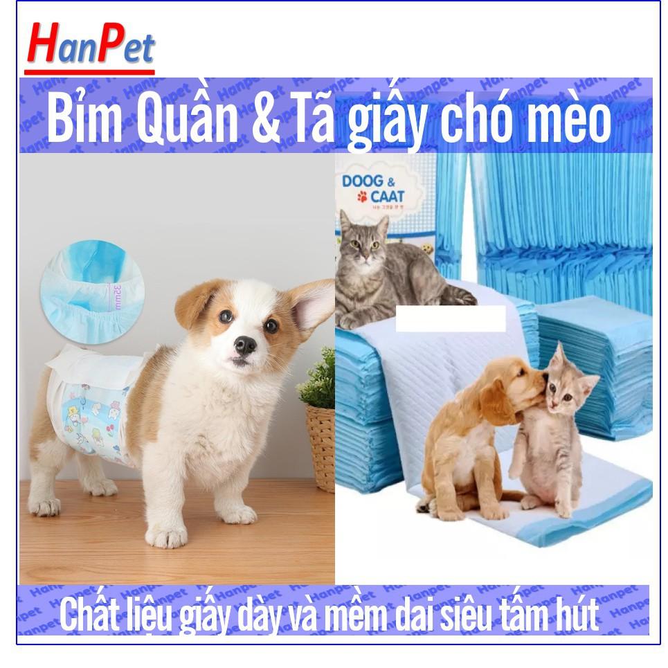Bịch 10 miếng - Bỉm chó mèo dạng quần dán ( đủ size) loại siêu thấm (hanpet 395a)|Bịch 100 tã 33*45cm