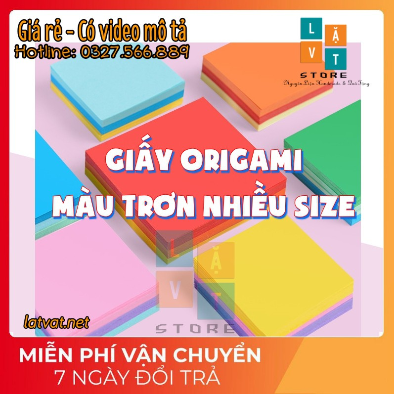 Giấy Origami Trơn 10 Màu tệp 100 tờ Nhập khẩu – Tập xếp giấy cho trẻ em – Khổ vuông