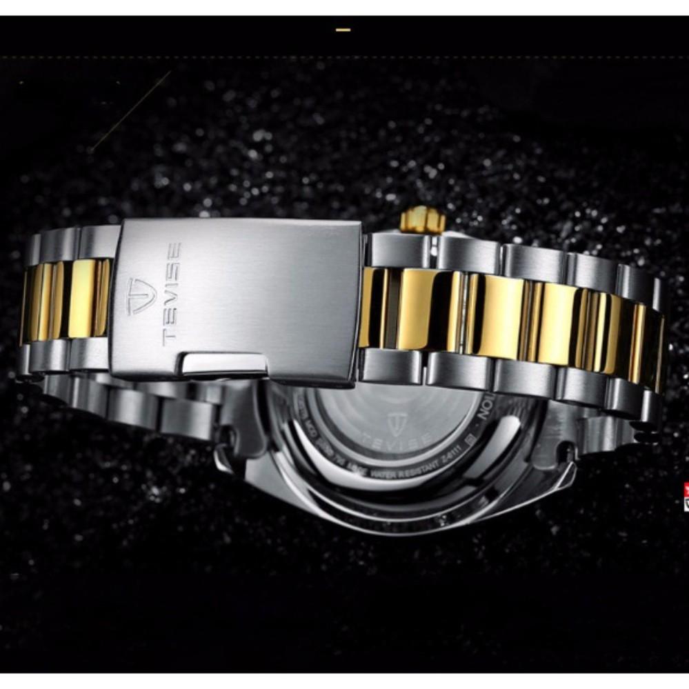 Đồng hồ cơ nam Tevise 795A chạy full kim dây kim loại (Mặt trắng dây demi)