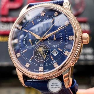 Đồng hồ Nam Rolex máy nhật, mẫu 6kim đính đá, mặt xanh viền vàng, dây da, dòng cơ Automatic size 40mm-41mm thumbnail