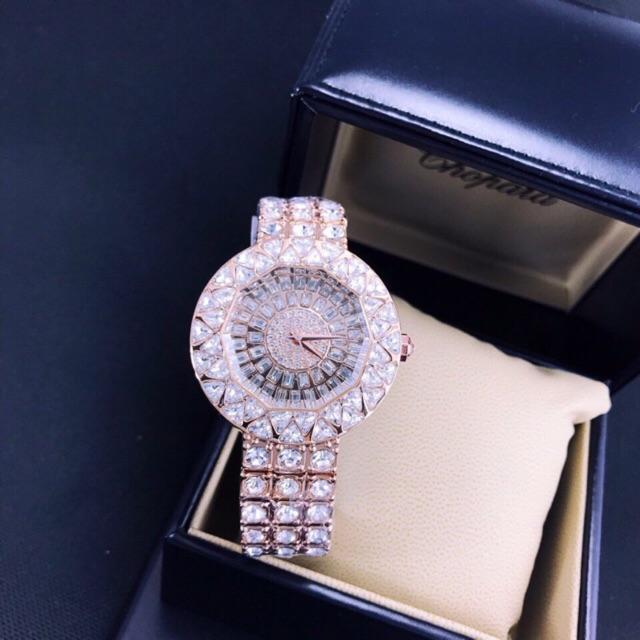 Đồng hồ nữ thời trang Mashi M4657 mặt tròn đính đá dây kim loại