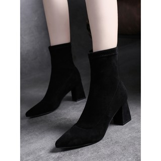 Autumn and winter Boots women 2019 New Korean version hundred pointed boots female coarse heel short - Autumn and winter Boots women 2019 New Korean version ...
