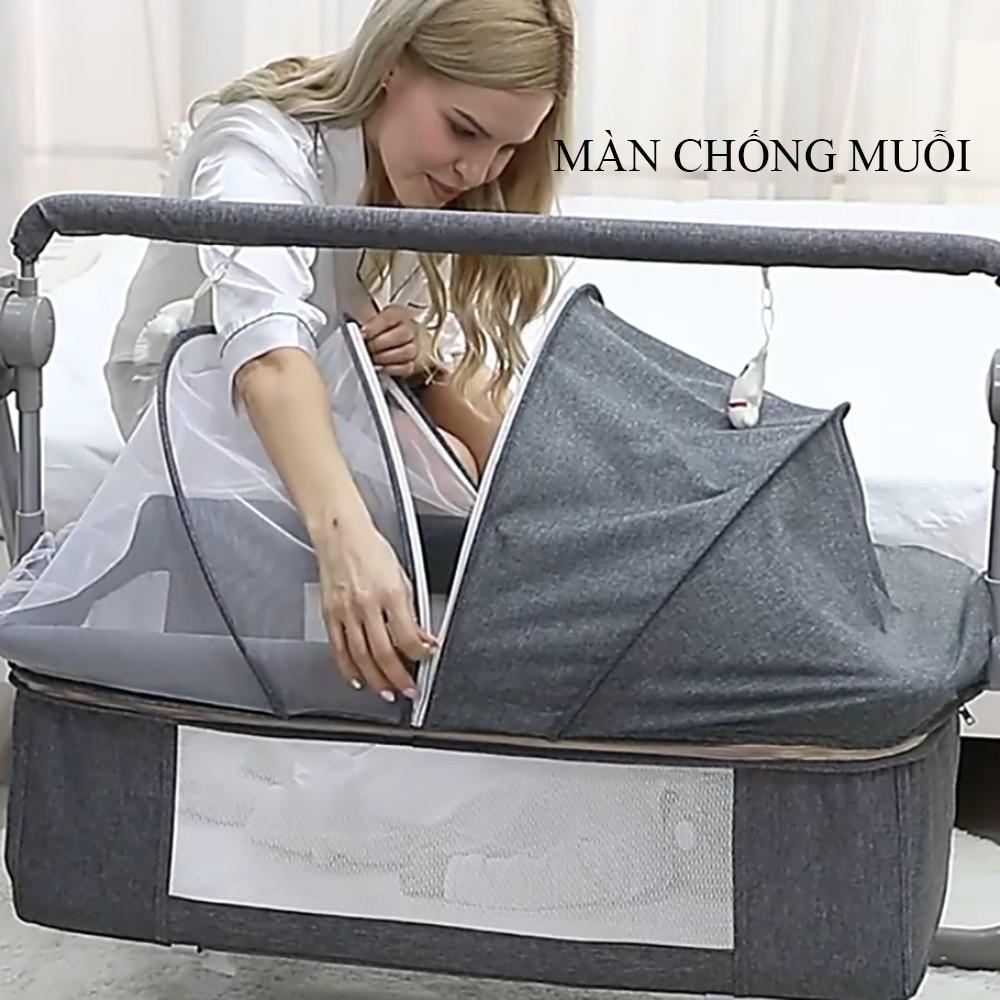 Nôi điện cho bé, nôi điện tự động, có điều khiển từ xa, kết nối bluetooth kích thước 106*62*80cm có màn và phát nhạc