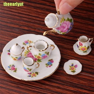 theearlyut 1:12 Mini Porcelain Tea Set For Miniature Dollhouse Accessory Home Decor DIY